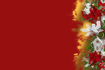 Border with poinsettia, white skating and squirrel on red background
