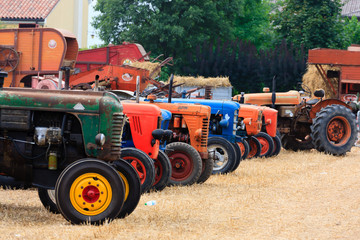 Detail of old tractors in perspective, agricultural vehicle, rural life