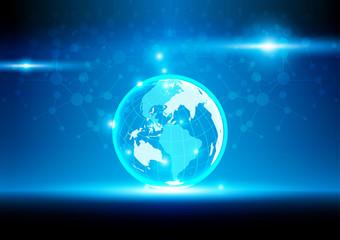 World mesh digital communication and technology network. vector