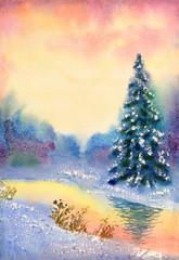 Watercolor landscape. Brook in winter forest