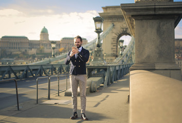 Elegant man in Budapest