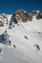 Randonnée en raquettes , l' hiver en montagne
