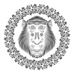 Monkey head in round wreath. Patterned abstract concept in antique style. Symbol of Chinese horoscope.