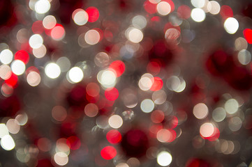 Colorful holiday Christmas lights background in abstract bokeh bubbles