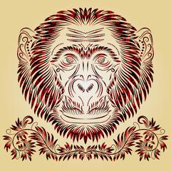 Fiery monkey head. Patterned monkey head in tribal totem tattoo style. Decorative silhouette of monkey head with elements of ethnic ornaments.