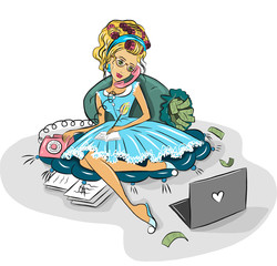 Business woman working at home via the Internet. The beautiful dress, hair curlers, pink phone, computer. coaching housewife money
