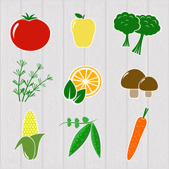 Set different vegetables and fruits