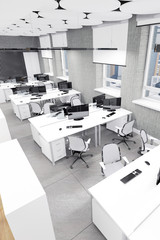 Empty modern office interior work place up view