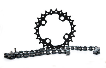 Mountain bike chain ring with chain isolated on white