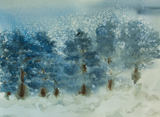 Pine forest with snow fall, watercolor painting