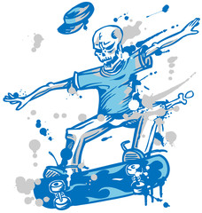 skeleton skater  on white background