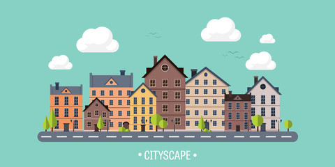 Vector illustration. City silhouettes. Cityscape. Town skyline. Panorama. Midtown houses. Summer