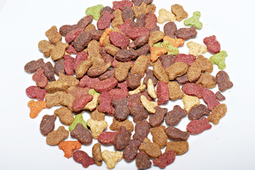 Cat food on white background