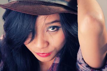 Seductive Asian girl face portrait