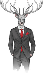 man with deer's head dressed in a suit
