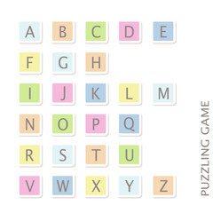 Blue pink green yellow uppercase font
