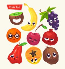 set of fruit characters. Vector cute cartoons