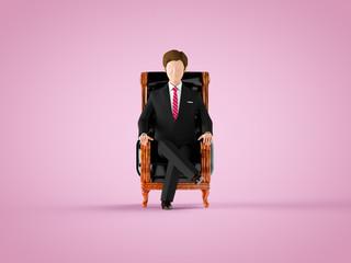 プレジデントチェアに座る男性