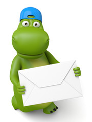 The 3d hippo and a letter