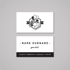 Organic food business card design concept. Food logo with corn, beet and pepper. Vintage, hipster and retro style. Black and white.