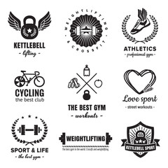 Sport & fitness logos vintage vector set. Hipster and retro style. Perfect for your business design.