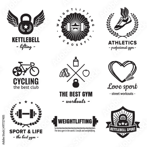 Sport Fitness Logos Vintage Vector Set Hipster And Retro Style Perfect For Your