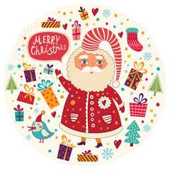 Beautiful vector Christmas illustration with cute Santa Claus.