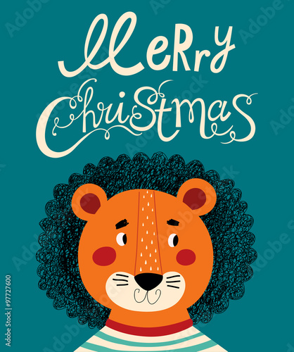 Christmas card with cute lion