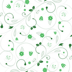 Vintage floral background with spiral elements. Vector illustration.