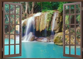 Open window view to deep jungle waterfall