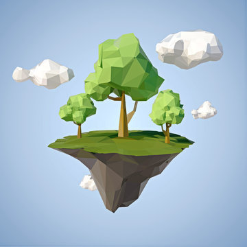 Low polygonal geometric trees and island. Abstract vector Illustration, low poly style. Stylized design element.