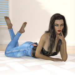 3D render of young woman laying on floor.