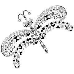 template of graphic abstract dragonflies from different shapes and lines