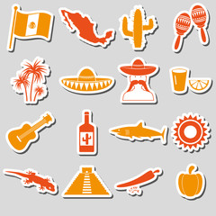 Mexico country theme symbols stickers set eps10