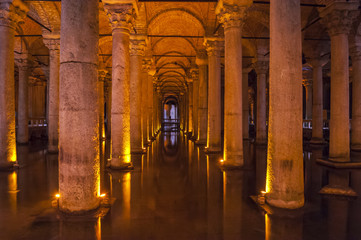 Old Roman columns in an ancient cistern