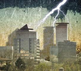 Grunge city skyline background with dripping and lightning