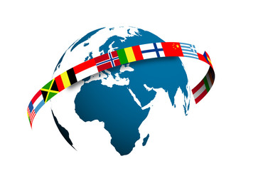 mondo, bandiere, europa, lingue