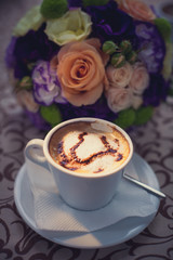 coffee with foam and heart