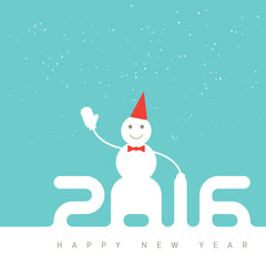 Happy new year 2016. Greeting card with happy snowman in hat. Un