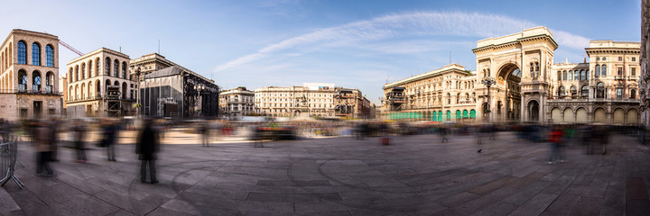 Piazza Duomo panoramic view Milan Italy - moved style photo