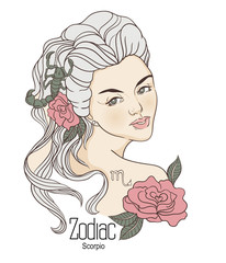 Zodiac. Vector illustration of Scorpio as girl with flowers.