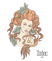 Zodiac. Vector illustration of Leo as girl with flowers.