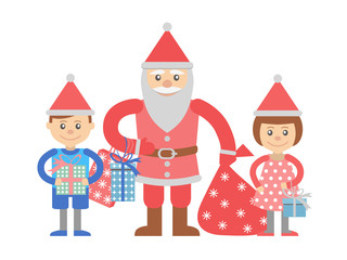 Illustration of Santa Claus with children in a flat style