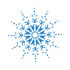 Blue silhouette of snowflake on white background