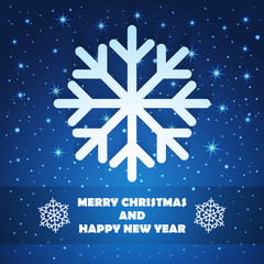 Christmas and New Year Greeting Card with Snowflake
