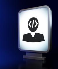 Database concept: Programmer on billboard background