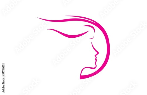 "beautiful woman face vector logo"" stock image and royalty-free"