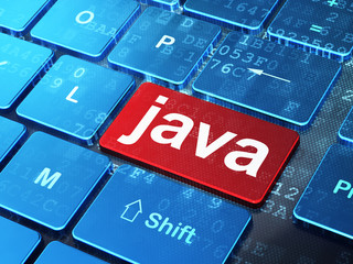 Programming concept: Java on computer keyboard background