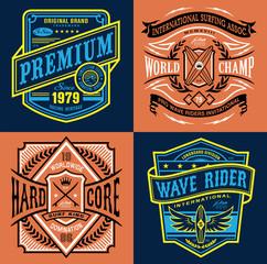 Vintage surfing emblem graphic set