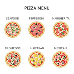 Six different types of pizza for pizzeria restaurant: seafood, pepperoni, margherita, mushroom, hawaiian, mexican.